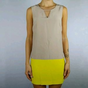 Bebe silk color block cut out shift mini dress